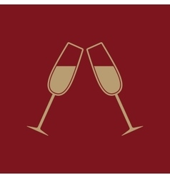 The clink glasses icon wineglass and goblet vector