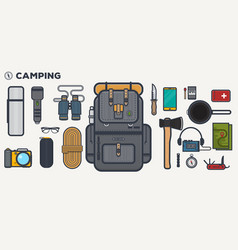 travel backpack line vector image