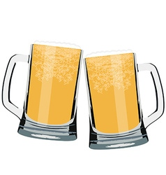 Two beer mug vector image vector image