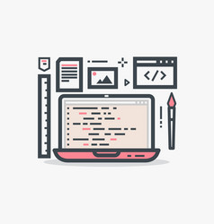 web design laptop vector image