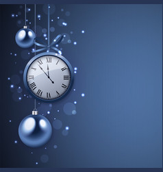 2017 new year background with clock and blue balls vector image vector image