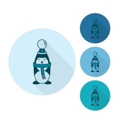 Christmas Penguin Monochrome color vector image vector image