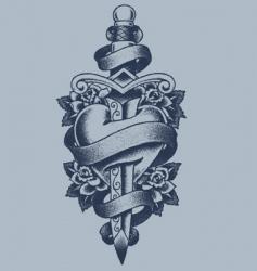 Heart and dagger tattoo vector