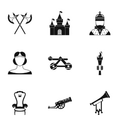 Military middle ages icons set simple style vector