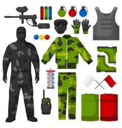 Paintball icons set paintball equipment vector