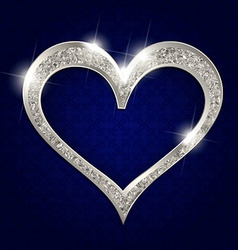 Silver frame heart on a dark background vector
