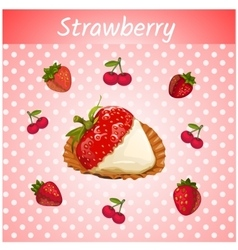 Strawberries with cream on a pink background vector