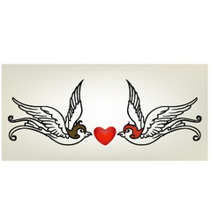 tattoo swallow heart vector image vector image