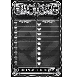 Vintage Hand Drawn Board for Pub Menu vector image vector image