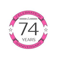 Seventy four years anniversary celebration logo vector