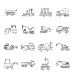 building vehicles icons set outline style vector image