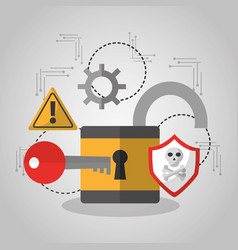 open padlock security key software protection vector image
