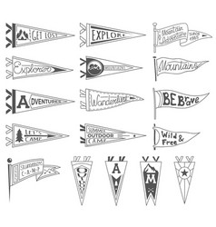 set of adventure outdoors camping pennants vector image