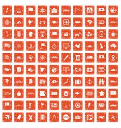 100 cartography icons set grunge orange vector image