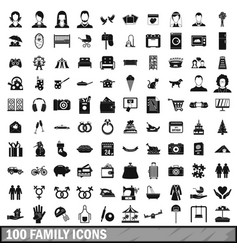 100 family icons set in simple style vector