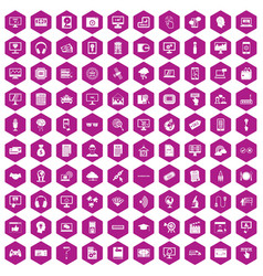 100 website icons hexagon violet vector image