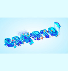 3d neon isometric word crypto people mining vector image