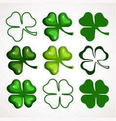 a cartoon set of clover leaves vector image