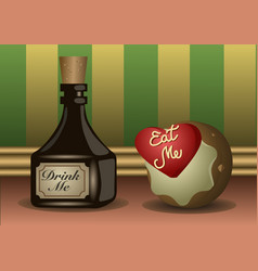 a little bottle and cookie with labels to eat vector image