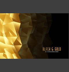 Abstract low poly golden and black background vector