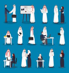 Arabian business characters set vector
