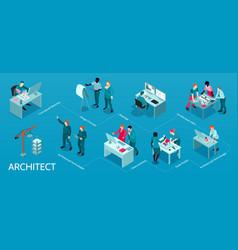 Architect isometric infographics vector