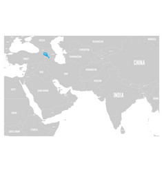 Armenia blue marked in political map of south asia vector