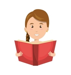Avatar woman smiling with a book vector
