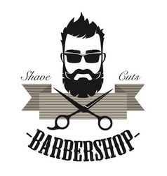 barber shop vintage classic label badge emblem vector image