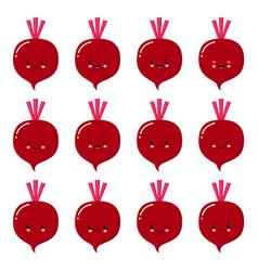 beet cute cartoon vegetable character set vector image