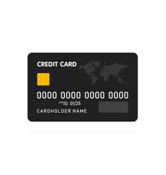 black simple credit card template on white vector image