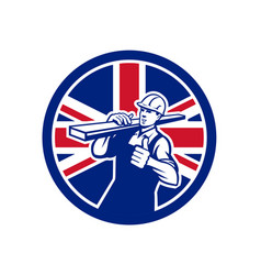british lumberyard worker union jack flag icon vector image