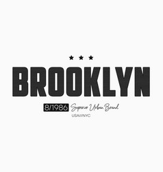 Brooklyn slogan t-shirt design with knitted vector