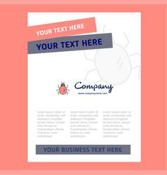 bug title page design for company profile annual vector image
