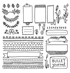 bullet journal doodle elements vector image