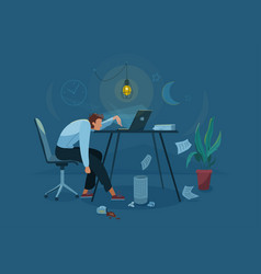 Burnout concept background tired man vector