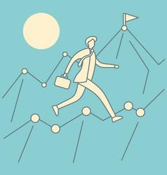 businessman an climb chart vector image