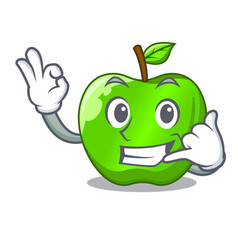 Call me green smith apple isolated on cartoon vector
