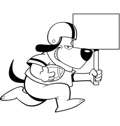 cartoon dog wearing a football uniform while runni vector image