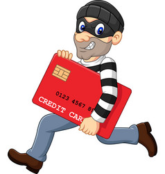Cartoon thief in a mask stealing a bank credit car vector