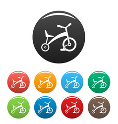 children tricycle icons set color vector image