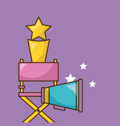 Cinema icon over purple background design vector