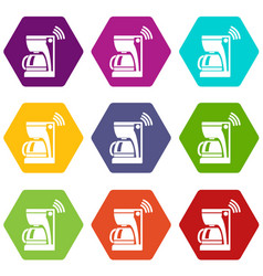 coffee maker icons set 9 vector image