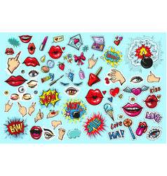 collection set of fashion patch badges pop art vector image
