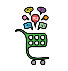 Color cart and color sale stickers vector
