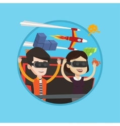 Couple in vr headset riding on roller coaster vector