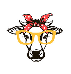Cow head with red bandana and sunglasses black vector
