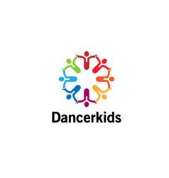 creative colorful crowd logo vector image