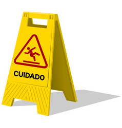 Cuidado caution two panel yellow sign vector