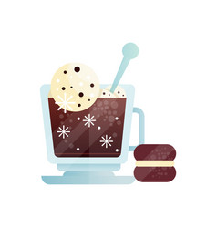 Cup of coffee with ice-cream ball tasty cold vector
